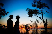 Maryland Wedding Photographers capturing sunset wedding portraits and are always happy to suggest wedding photography ideas to create beautiful wedding day pictures