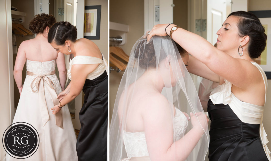 bride getting ready for wedding in maryland