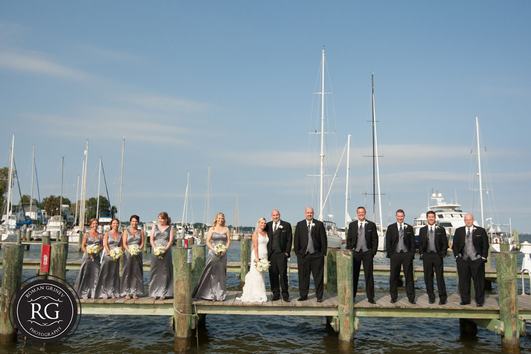 bridal party portraits at Annapolis Maritime Museum
