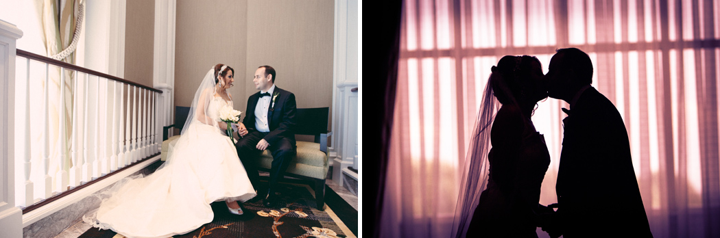Bride and groom portraits at Tysons Ritz Carlton