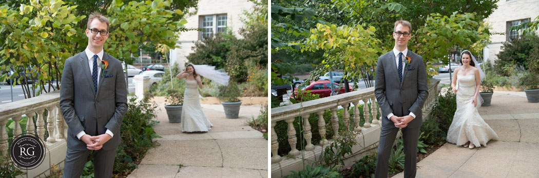 bride and groom first look at Josephine Butler Parks Center