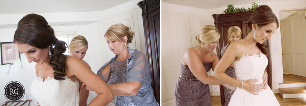 bride getting ready at Stepne Manor in Chestertown, Maryland