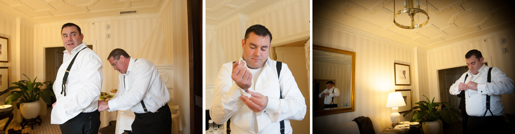 groom getting ready at Hay Adams Hotel Washington DC