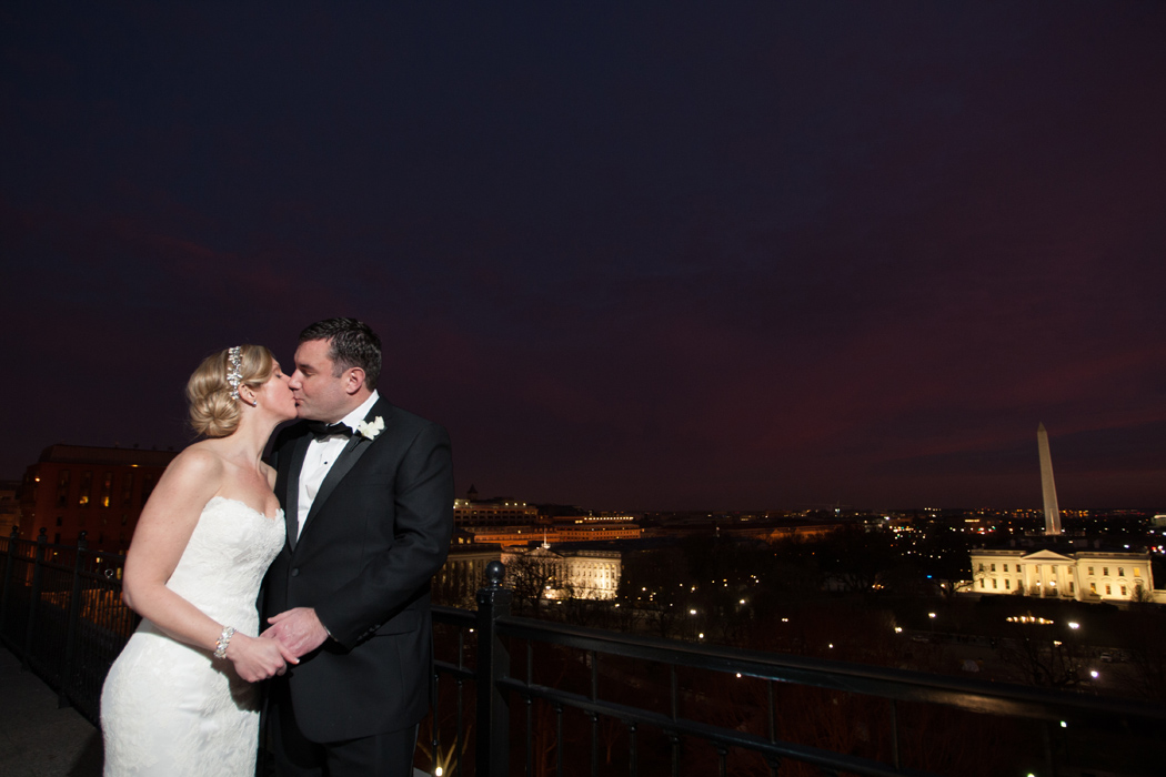 wedding portrait with White House outside Hay Adams Hotel Washington DC