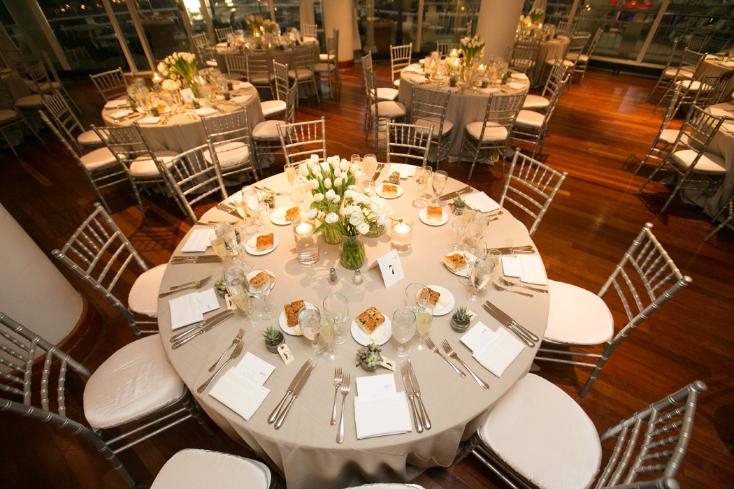 wedding reception set up and decor at Sequoia Restaurant, Washington DC