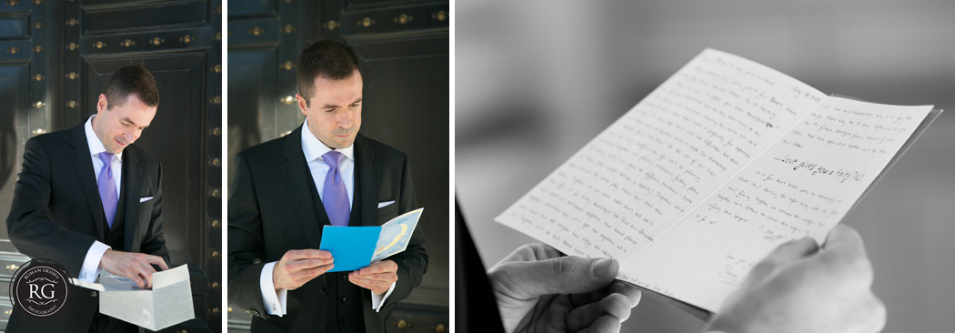 groom reading letter from bride